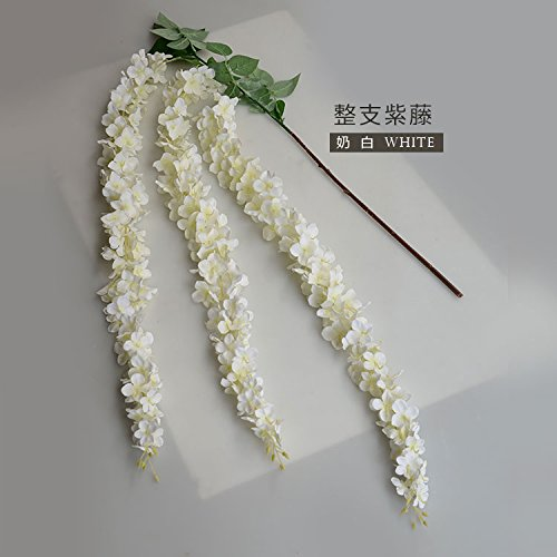Colorfulife 10pcs 164cm Long Artificial Silk Wisteria Flower Vine Cane Floral Rattan Hang Garland Plant Wedding Party Centerpieces Ornament Room Window Balcony Home Garden Decoration (White) by Colorfulife (Image #2)