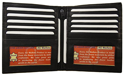 AG Wallets Men's Genuine Leather European Bifold Wallet Slim Hipster 2 Windows (Two Currency Pockets)
