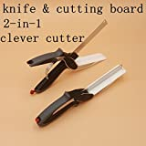 Rian's Online Clever Cutter 2-in-1 Food Chopper Slicer Multifunction Kitchen Vegetable Stainless Steel Scissors Cutter-Replace Kitchen Knife and Cutting Board Food Cutter for Meat Vegetables and lot more