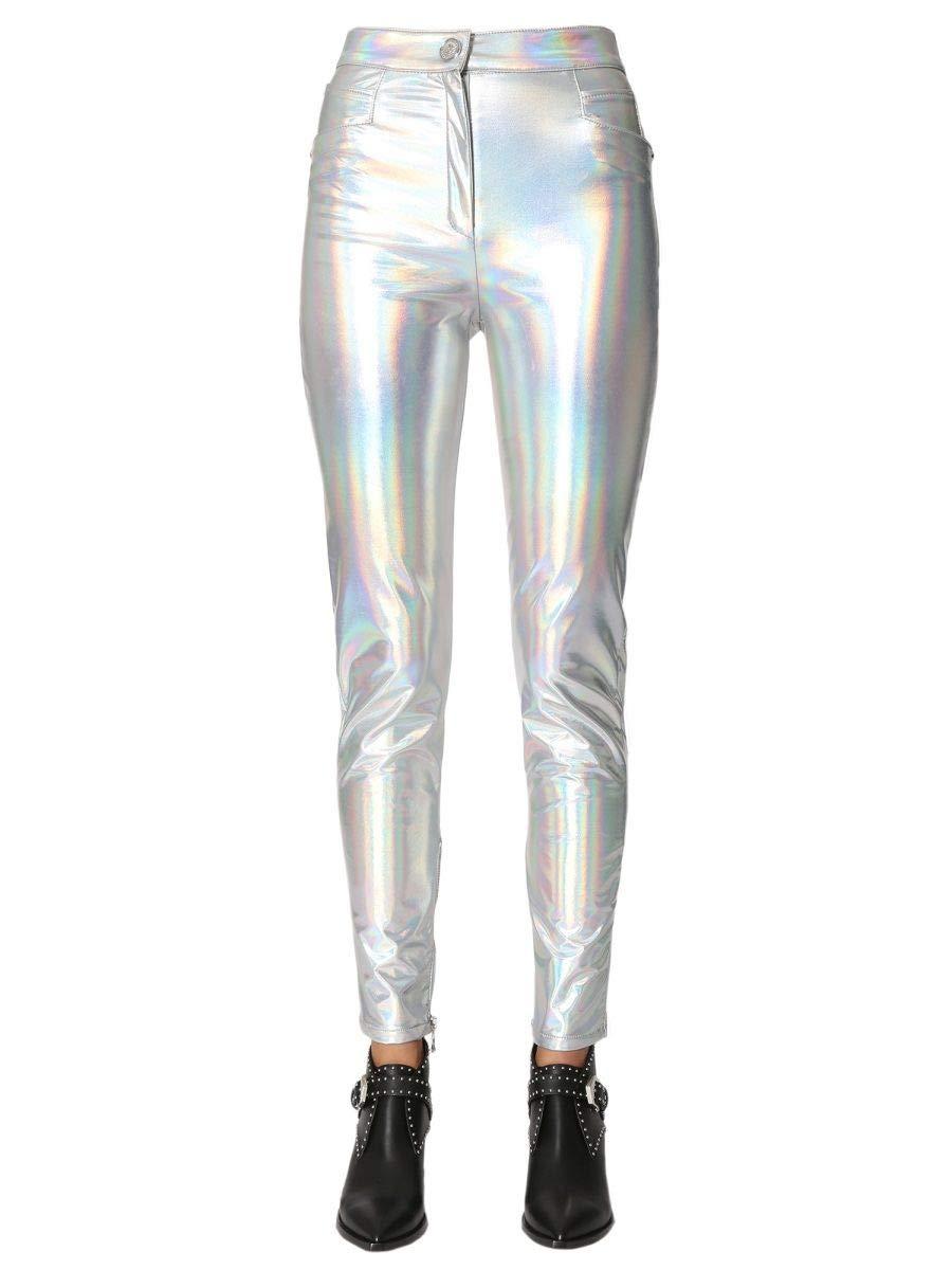 Brand Size 36 BALMAIN Women's PF05469X091C4605 Silver Polyester Pants