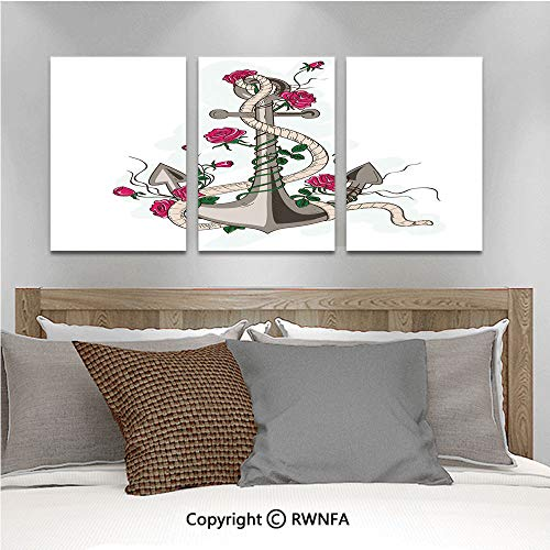 3Pc Creative Wall Stickers Romantic Hand Drawn Style Marine Icon Entwined with Rose Flowers and Rope Decorative Bedroom Kids Room Nursery Dinning Wall Decals Removable Art Murals,19.7