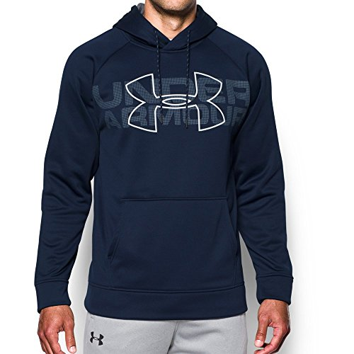 Under Armour Mens Armour Fleece Graphic Hoodie, Midnight Navy (410)/Graphite, (Under Armour Fleece Hoody)
