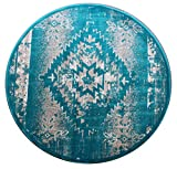 Bellagio Southwest Native American Round Area Rug Design 357 Distressed Turquoise (8 Feet X 8 Feet) Round For Sale