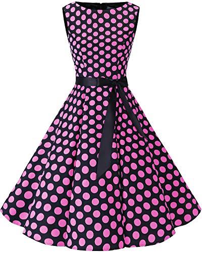 Bbonlinedress Women's 1950s Audrey Summer Vintage Rockabilly Swing Dress Black Pink BDot - Dress Womens Polka In Dot