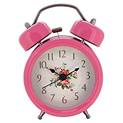 Konigswerk 3 Non-ticking Quartz Analog Twin Bell Alarm Clock With Nightlight (Pink) AC050-1G