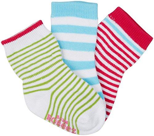 Robeez Baby-Girls Newborn 3 Pack Stripe Mix Socks, Assorted, 6-12 Months