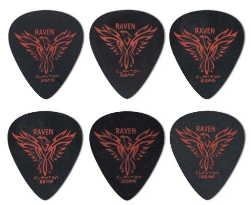 Clayton Black Raven Guitar Picks (Select from gauges .38mm - 1.26mm)