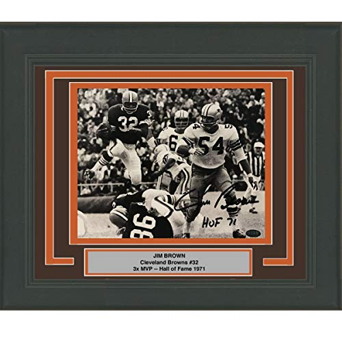 Framed Autographed/Signed Jim Brown HOF 71 Cleveland Browns 8x10 Football Photo GTSM COA Holo Only ()