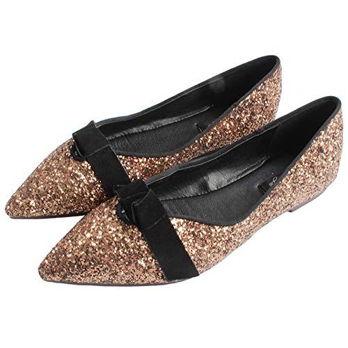 FLYRCX Zapatos Planos cómodos de la Boca Baja señalados Zapatos Solos Zapatos de la Boda Zapatos de Trabajo de Oficina de Las señoras Zapatos de Las Mujeres Embarazadas brown