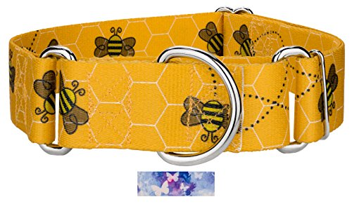 Country Brook Design | 1 1/2 Inch Busy Bee Martingale Dog Collar - Medium