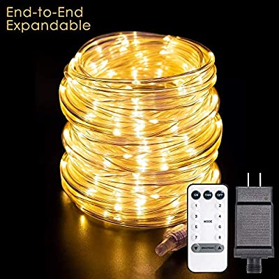 Cosumina Led Rope Lights, 99ft/30M 300 LED 8 Modes with Remote Control Rope String Light, Waterproof, Decoration Lighting for Indoor Outdoor Christmas Garden Party Wedding Holiday Warm White