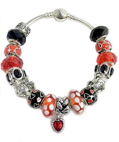 "Valentines Gift for Girls Teens Women -Mickey Minnie Charm Bracelet Jewelry -""Believe in Magic"