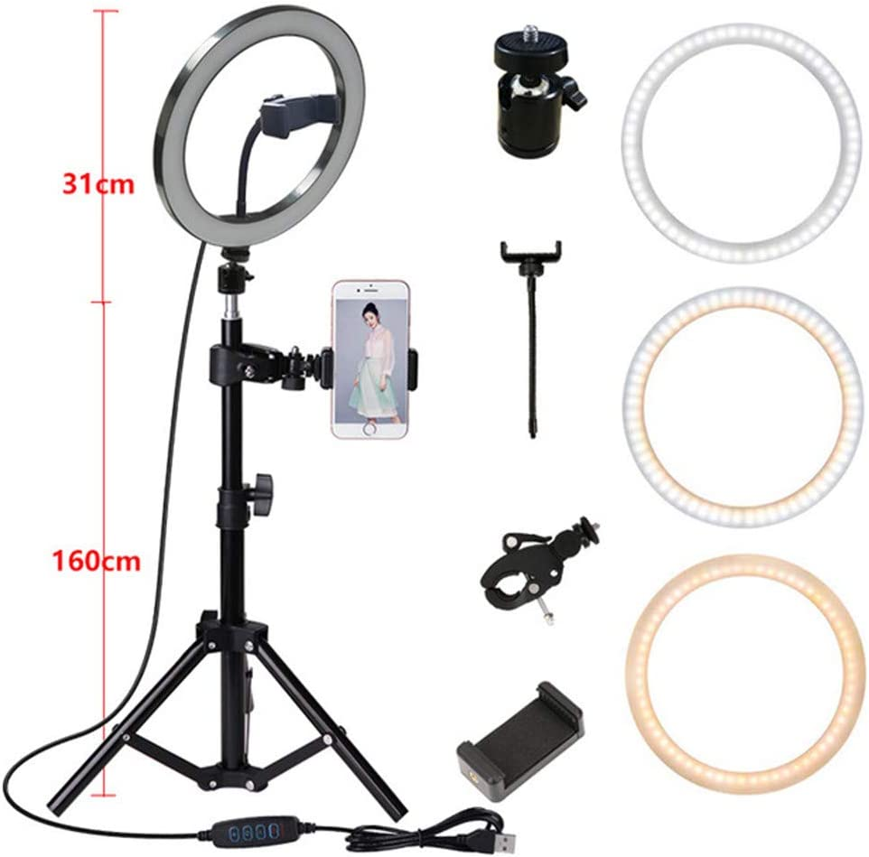 Tri-Color Light Adjustable Selfie Beauty Light Live Fill Light 10-Inch LED Ring Light Tripod Kit Retractable and Easy to Store,B