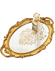 Oval Printed Mirror Tray