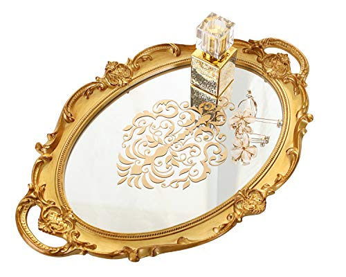 Zosenley Decorative Mirror Tray, Floral Vanity Organizer for Makeup, Jewelry, Perfume and Decor, Vintage Oval Display and Serving Tray for Dresser, Counter and Coffee Table, Gold