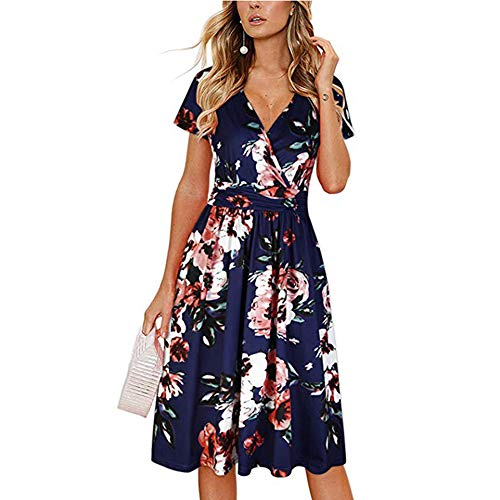 Floral V Neck Short Sleeve Swing A Line Midi Sun Dress Summer Boho Beach Vacation Cocktail Wedding Party Dresses for Women (Navy Blue Floral 01, L/US Size 12-14)