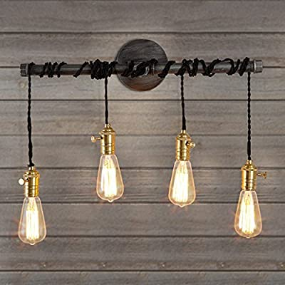 Industrial Pipe Wall Lamp-LITFAD Hanging Pendant Wall Sconce Vintage Wall Mounted Light