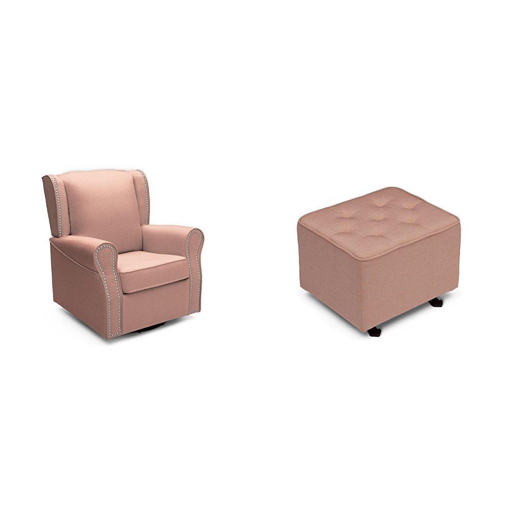 Delta Furniture Middleton Upholstered Glider with Tufted Gliding Ottoman, Blush