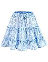 Women Casual Skirt A Line Elastic Waist Summer Beach Floral Ruffle Pleated
