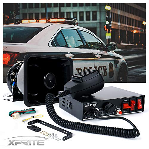 Xprite 200 Watt 8 Tones Emergency Warning Siren Speaker PA System Kit w/Handheld Microphone & Light Control Switches for Police Cars
