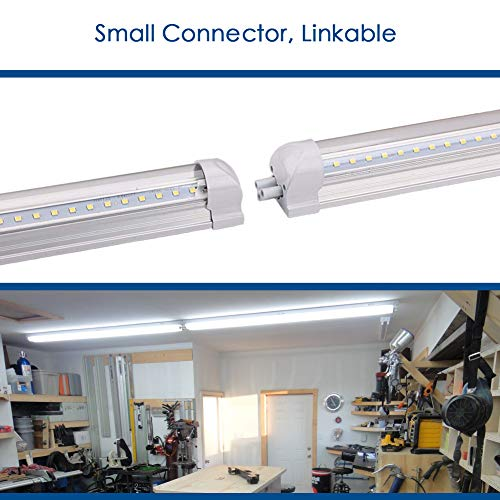 8Ft LED Shop Light, 72W, 7500LM, 6500K, T8 V-Shape Integrated Tube Light Fixture, Hight Output, Brighter White, LED Tube Light for Garage, Warehouse, Plug and Play (Pack of 5) by LECLSTAR (Image #4)