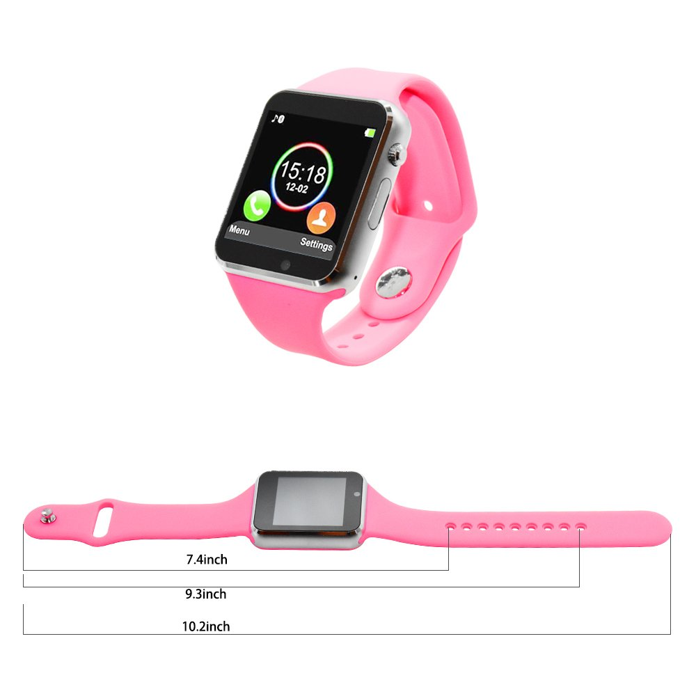 COSROLE Bluetooth Smart Watch, A1 Touch Screen Smart Wrist Watch with 8GB SD Card & Two Batteries & Screen Protector for Samsung Xiaomi Huawei Sony HTC LG Android Smartphones - Pink by COSROLE (Image #5)