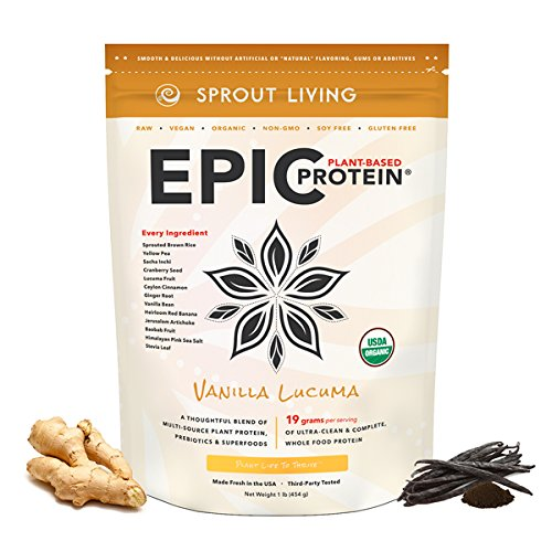 Sprout Living Epic Protein Powder, Vanilla Lucuma Flavor, Organic Plant Protein, Gluten Free, No Additives, 19 Grams Clean Vegan Protein (1 pound,13 servings) by Sprout Living