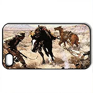 The Cinch Ring - Case Cover for iPhone 4 and 4s (Horses Series, Watercolor style, Black)