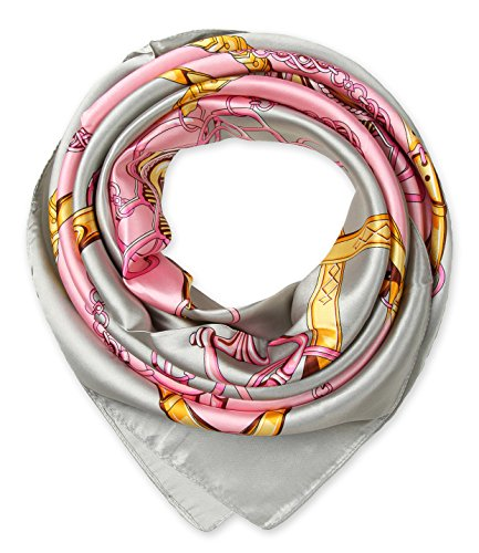 Ladies Pretty Satin Neckerchief Square Scarf headband 35 x 35 inches Chains Belts Gray by corciova (Headband Belt Scarf)
