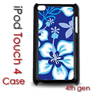Diy For Touch 4 Case Cover Plastic Case - Blue Hibiscus Flowers