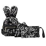 Owill 3Pcs Fashion Student Children Sequins Backpacks+Drawstring Bag+Messenger Bag (One_Size, Black)