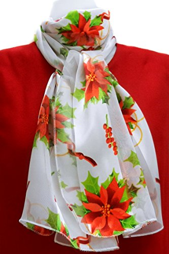 Silk Feel Christmas Scarf Poinsettias, Berries & Curling Ribbon on White
