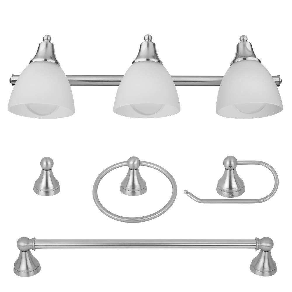 Globe Electric Estorial 5-Piece All-in-One Bath Set, 3-Light Vanity, Towel Bar, Toilet Paper Holder, Towel Ring, Robe Hook, Brushed Steel, Frosted Glass 50700