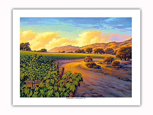Pacifica Island Art - Vineyard Sunset - Wine Country Art by Kerne Erickson - Premium 290gsm Giclée Art Print 18in x 24in by Pacifica Island Art (Image #1)