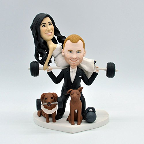 Wedding Bee DIY Unique Wedding Cake Topper Personalized Toppers Funny Cartoon Weightlifting Bride & Groom Pet Figure Figurines (Weightlifting Figurines)