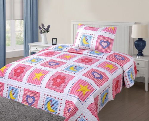 Twin Girl Square Hearts #8 Printed Quilt Bedding Bedspread Coverlet Set 2Pc by Bedding Set