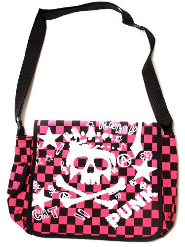 Clover Pink Black Checkered Messenger