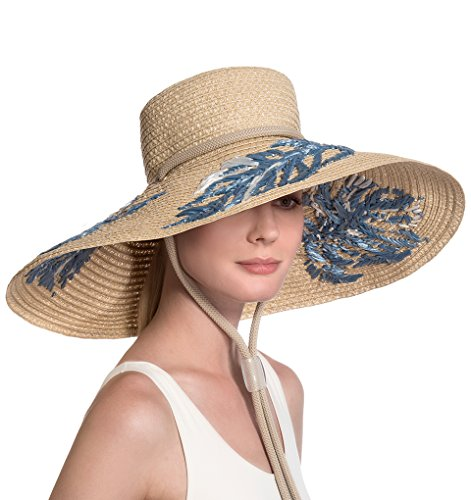 Eric Javits Luxury Fashion Designer Women's Headwear Hat - Tahiti - Flax Mix by Eric Javits