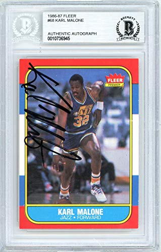 - Karl Malone Autographed 1986 Fleer Rookie Card #68 Utah Jazz Vintage Beckett BAS #10736945 - Beckett Authentication