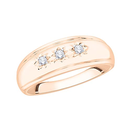 1//10 cttw, G-H,I2-I3 Size-3 Diamond Wedding Band in 10K Yellow Gold