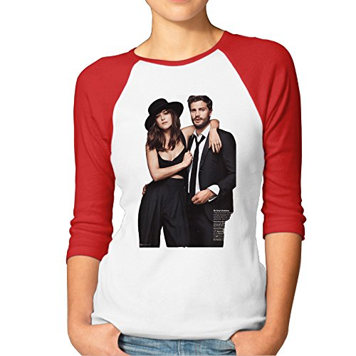 Fifty Shades Of Grey Women's Nerdy 100% Cotton 3/4 Sleeve Athletic Baseball Raglan Sleeves T-Shirt Red US Size - Shades Cudi Kid