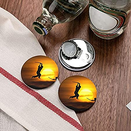 Abrebotellas redondas silueta Sun Karate / imanes de nevera sacacorchos de acero inoxidable pegatina magnética 2 piezas