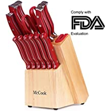 McCook MC24 14 Pieces FDA Certified High Carbon Stainless Steel kitchen knife set with Wooden Block, All-purpose Kitchen Scissors and Built-in Sharpener