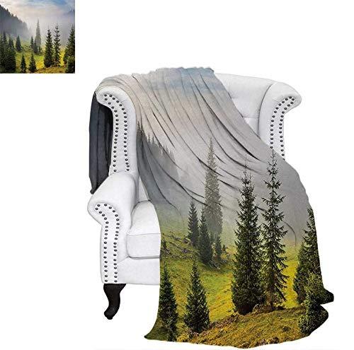 Throw Blanket Fir Trees on Meadow Between Hillsides with Conifer Forest in Fog Before Sunrise Velvet Plush Throw Blanket 60
