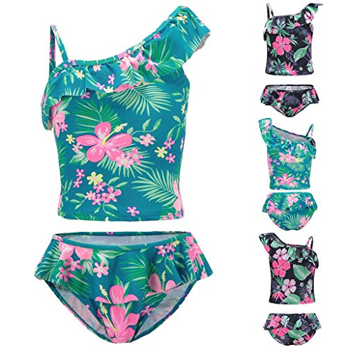 Toddler Girls Tropical Leaves Print Swimwear(1-6T) | 2-Piece Elastic Swimsuit Girls Oblique Shoulder Tankini(Green,5T)