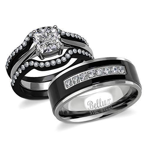 Bellux Style His and Hers Wedding Engagement Promise Rings for Couples Stainless Steel CZ Womens 1.03 Carats 3-Piece Wedding Ring Sets & Mens Matching Black Bands (Women
