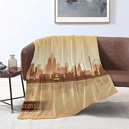 Jecycleus Kentucky, Weave Pattern Extra Long Blanket, Silhouette of Louisville Buildings Bridge and Ferris Wheel Illustration, Summer Quilt Comforter 90x70 Inch Brown Tan and Beige (Silhouette Kentucky)