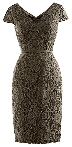 Women Sleeve Lace Bride Wedding MACloth Mother Vintage Cap of Party Dress Pewter Short pqAxdwX