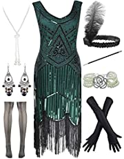POKERGODZ Women Plus Size 1920s Gatsby Sequin Fringed Paisley Flapper Dress with 20s Accessories Set