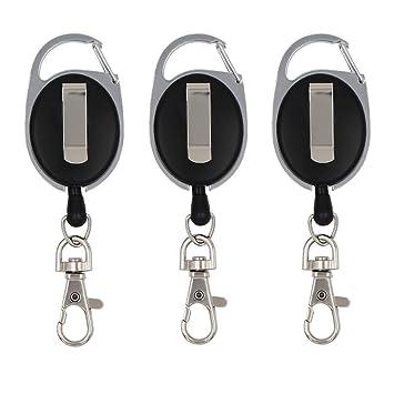 3 piezas Llaveros Retráctil, portatarjeta de identificación y Oficina, Cordón Extensible 60cm Ovalado con Clip y Llavero Metálico, Negro